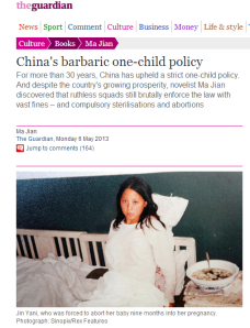the guardian china aborto