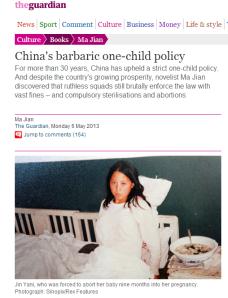 the guardian china aborto